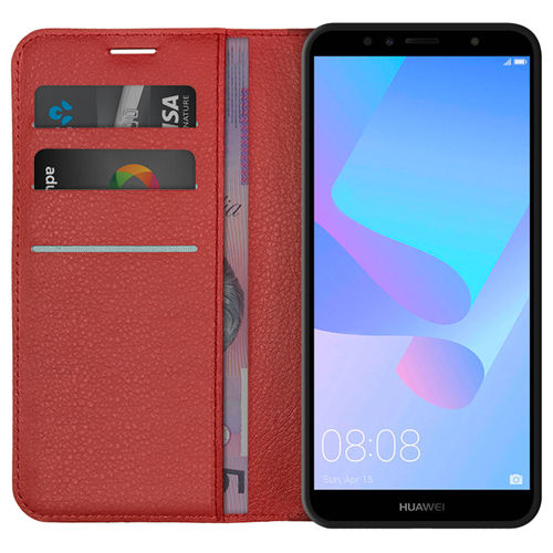Leather Wallet Case & Card Holder Stand for Huawei Y6 (2018) - Red
